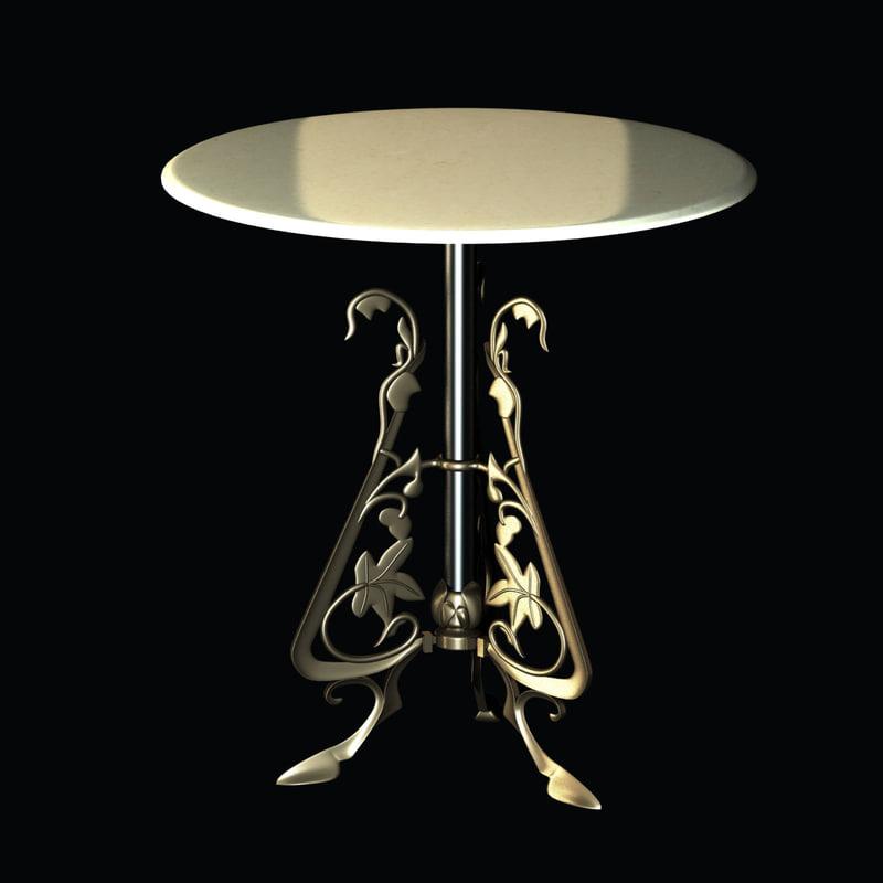 3d table ornate bistro decorative model