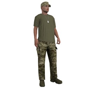 3d model rigged soldier 3