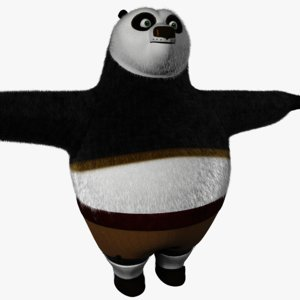 3d model kung fu panda fur