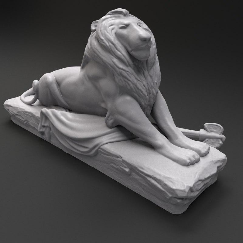 3d lion sculpture printable model