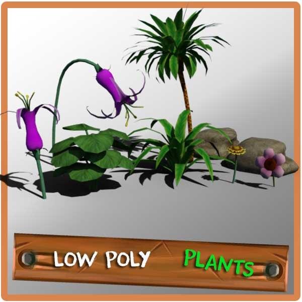 plants rocks palm 3d obj