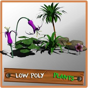 plants rocks palm 3d obj