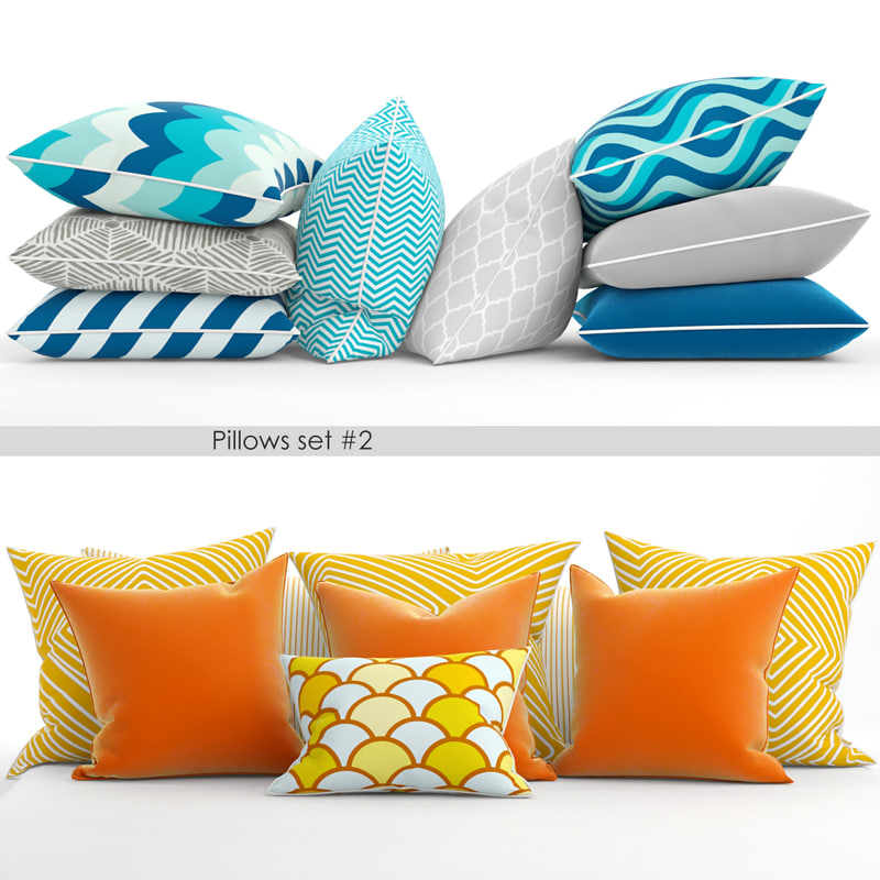 3d 2 sets pillows model