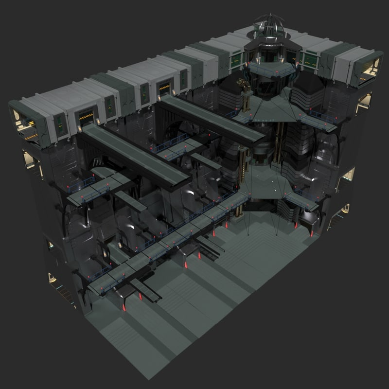 3d sci-fi wall complete model