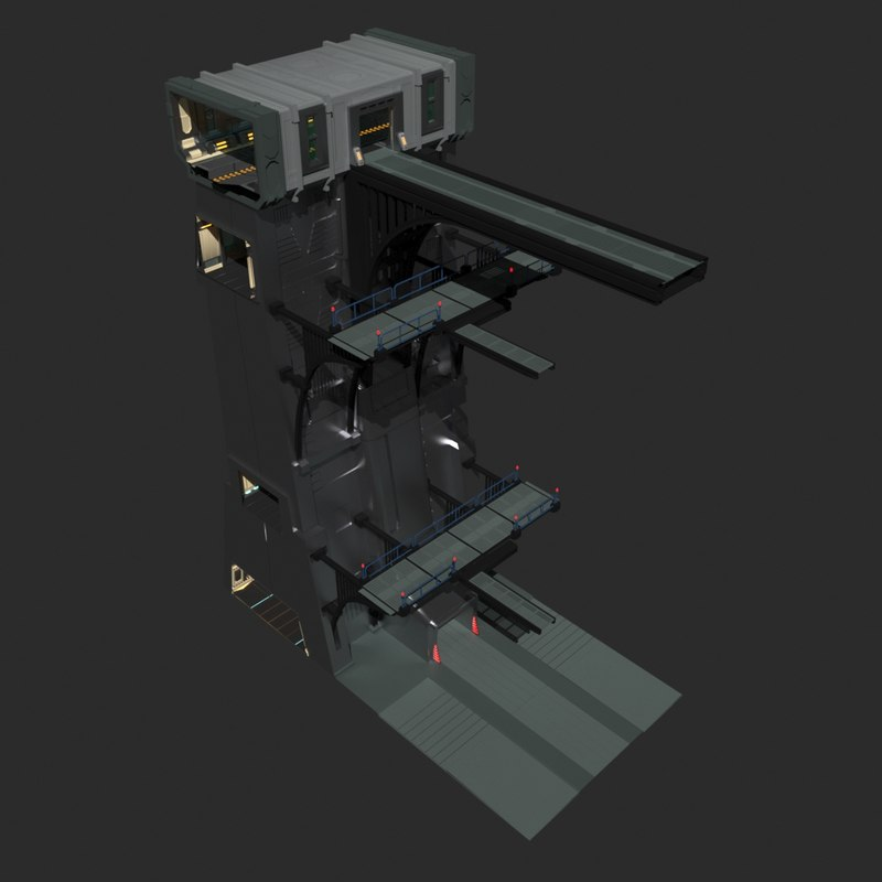 3d sci-fi wall model