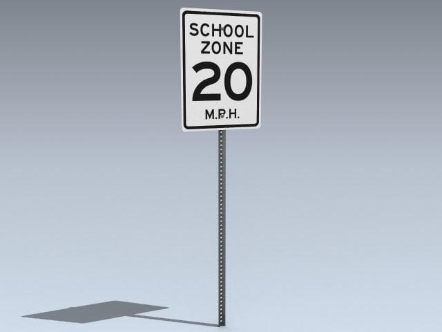school zone sign 3d model