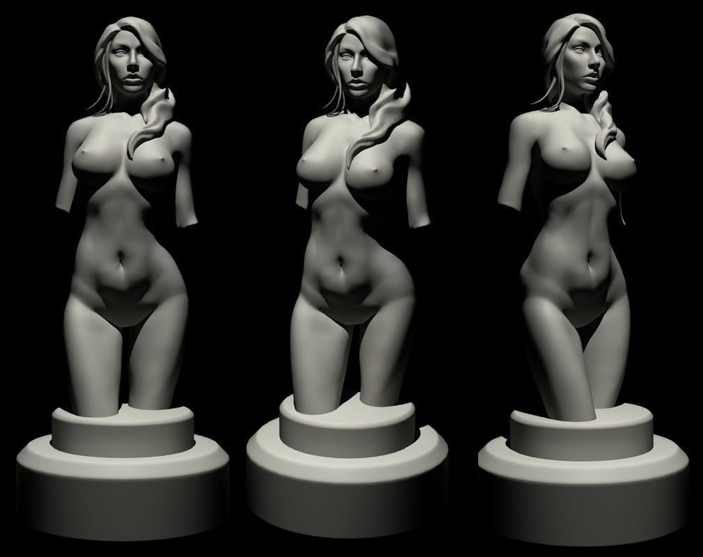 3d girl statue