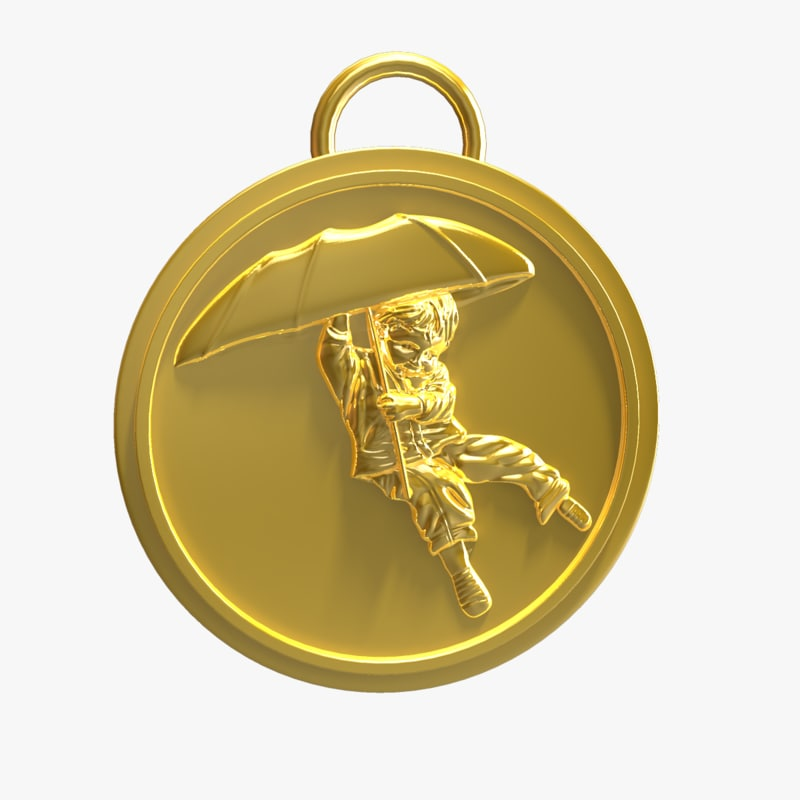 umbrella boy medal obj