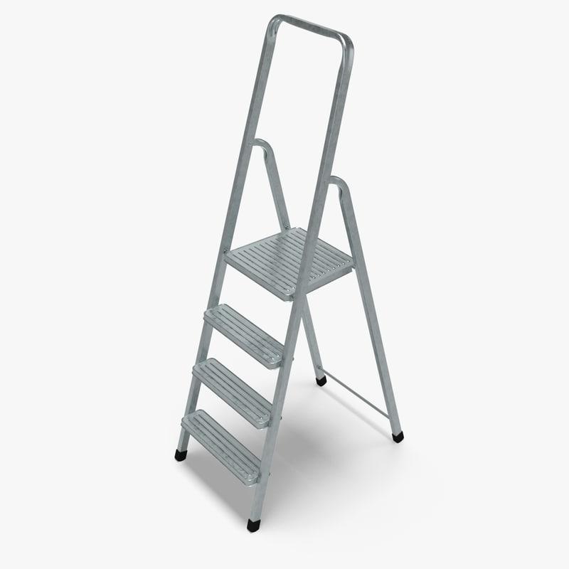 3ds max ladder galvanized steel