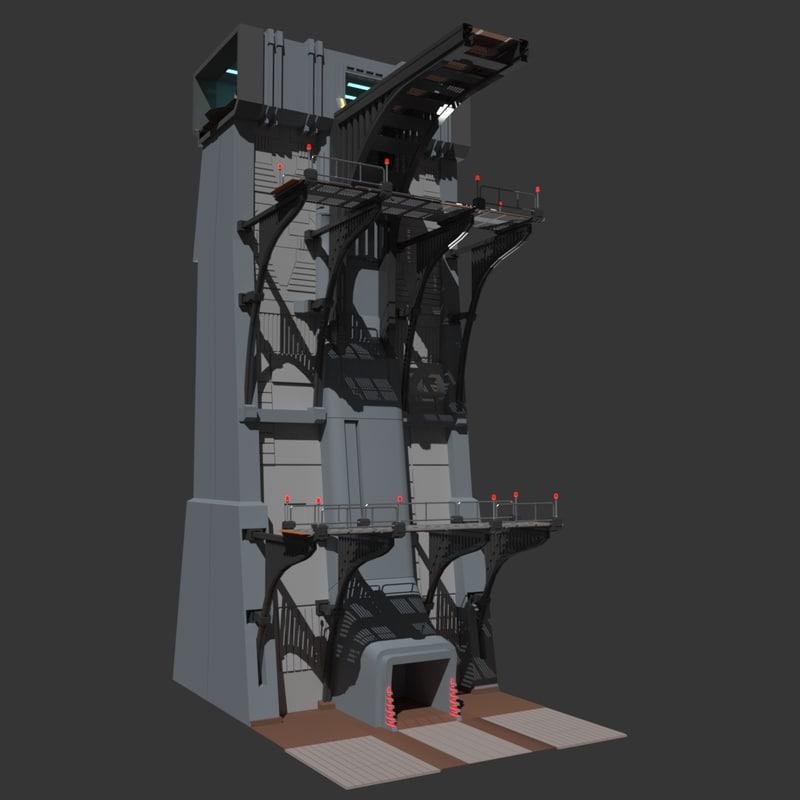 3d model of sci-fi wall