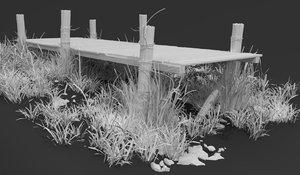 dock boat wooden 3D