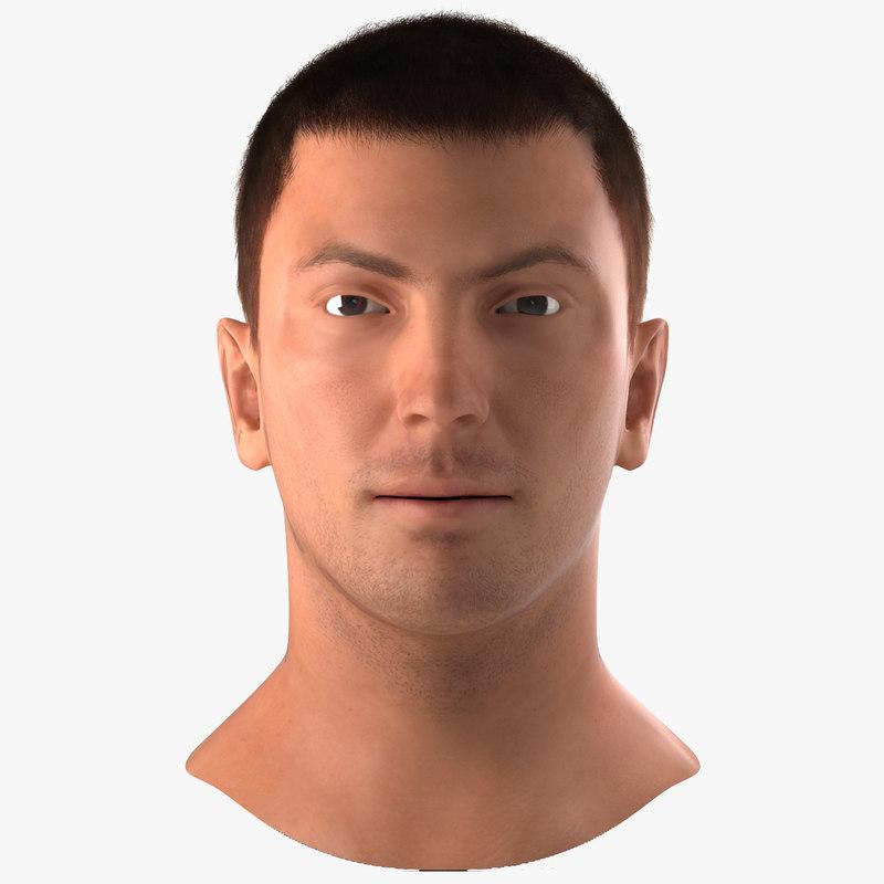 3d model male head hair modeled