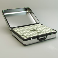 3d model suitcase money modeled