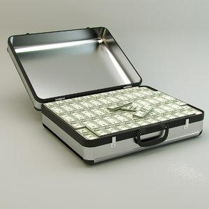 3d model suitcase money modeled