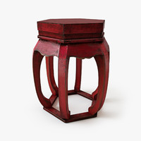 antique chinese stool 3d model