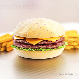 3d model hamburger fries