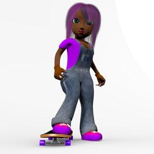 3d model girl toon skate
