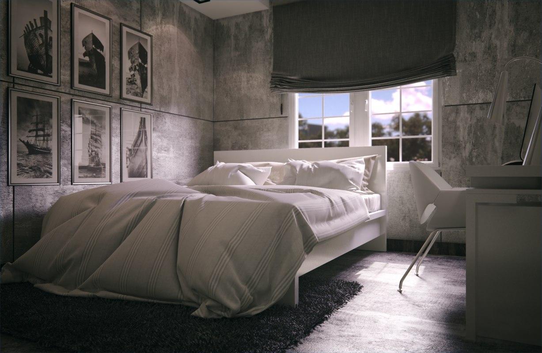 3d max scene concrete bedroom ready