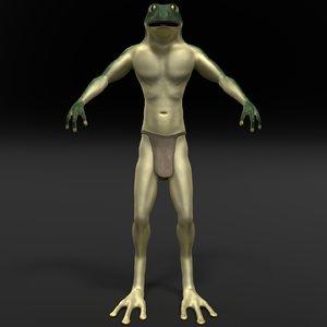 3d frog tribesman model