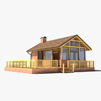 wooden summer house 3d model