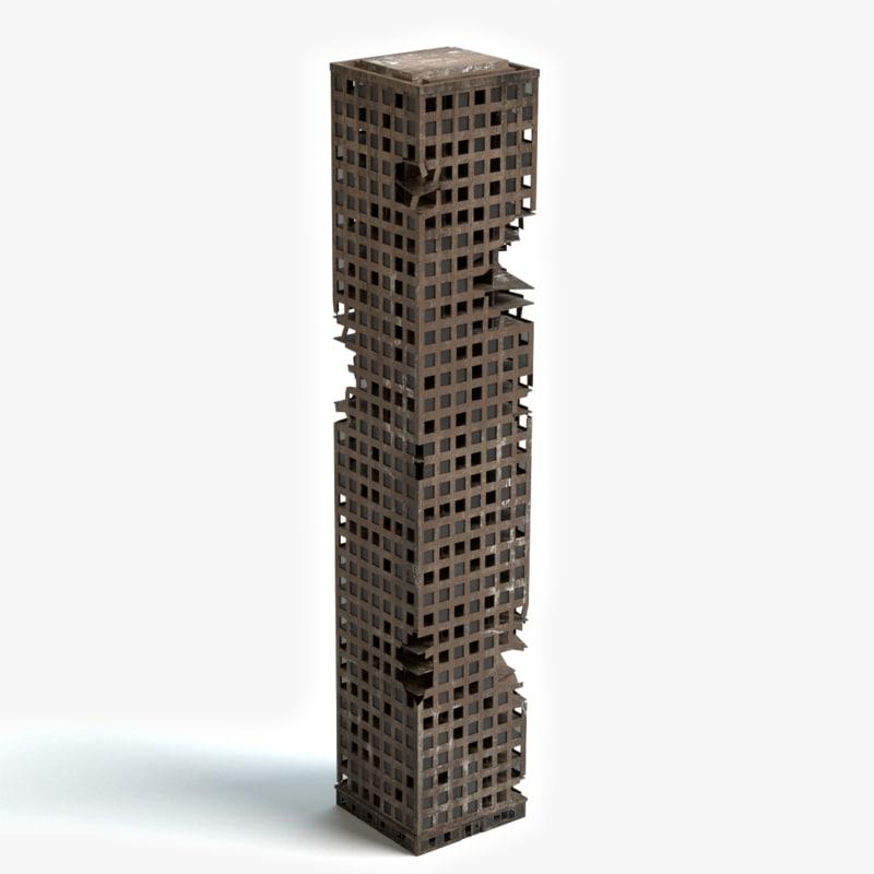 destroyed skyscraper building 3d max