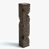 destroyed skyscraper building 3d max