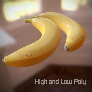 3d banana scanned polys model