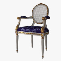French Louis XVI Oval Dining Chair Arm Cane