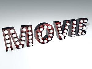 vintage movie theater sign 3d c4d