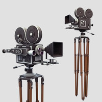 Vintage Film Movie Camera (low poly)