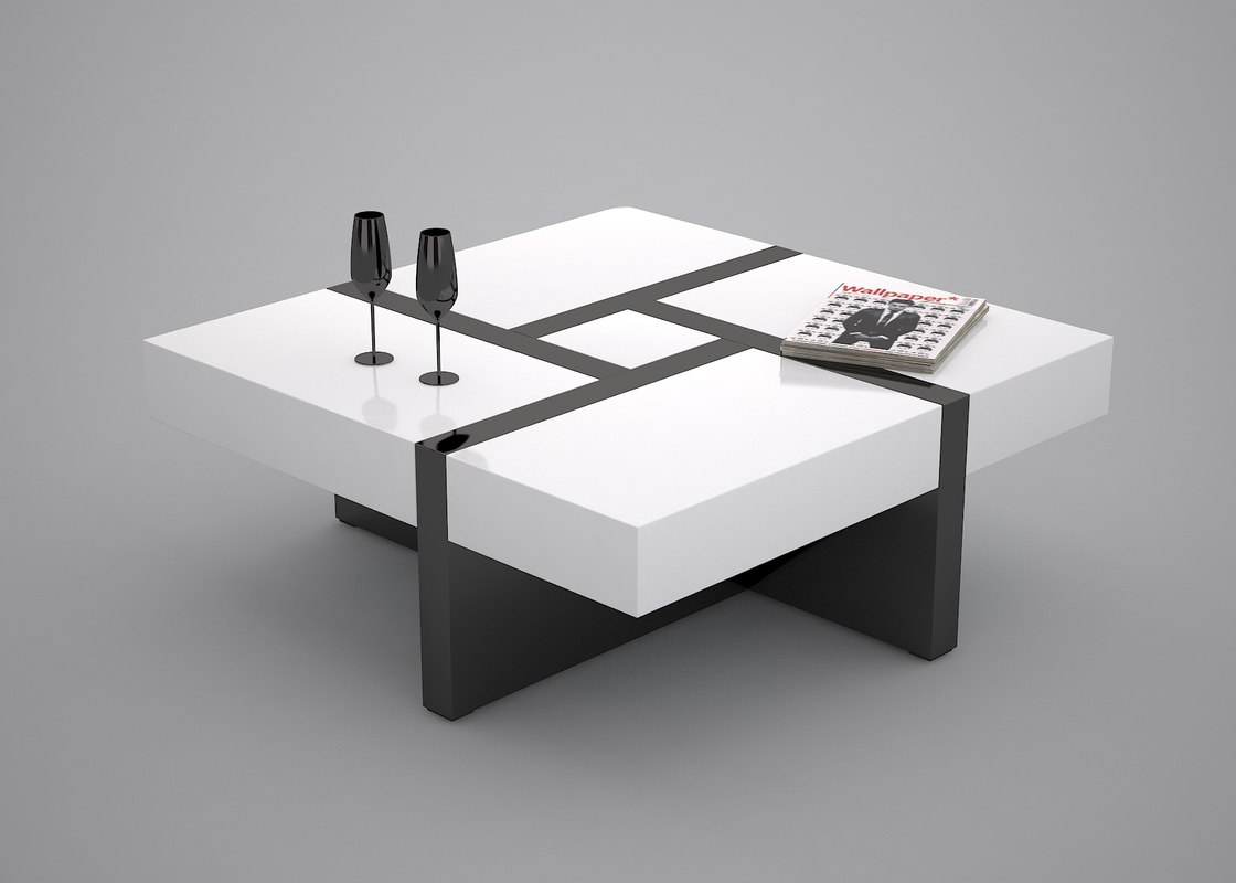 3d coffee table black white model