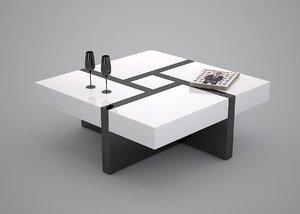 3d coffee table black white model