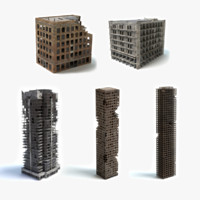 damaged building set 3d 3ds