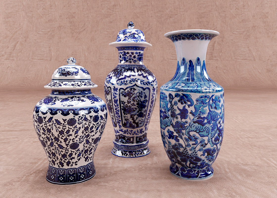 3d model indigo chinese vases