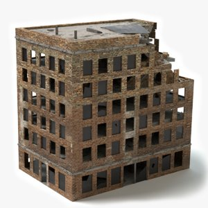 3d damaged brick building