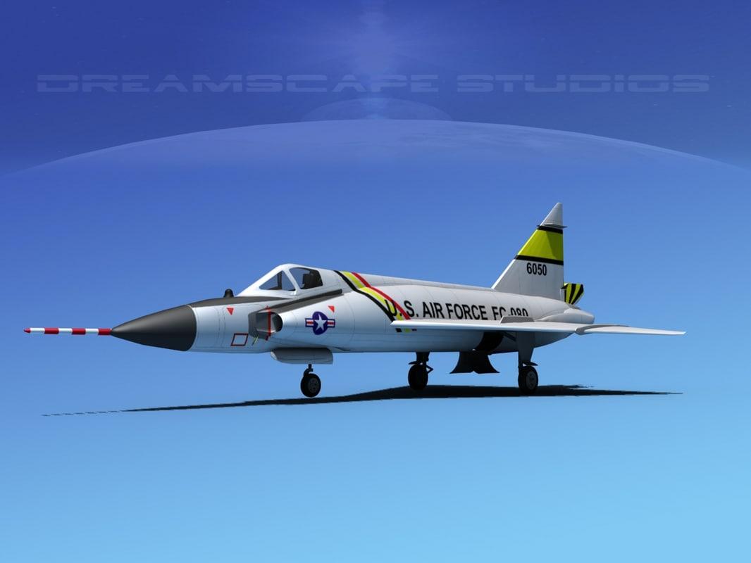 f-102 convair air force 3d model