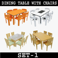3ds max dining table chairs set-1