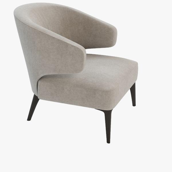 3d aston armchair minotti model