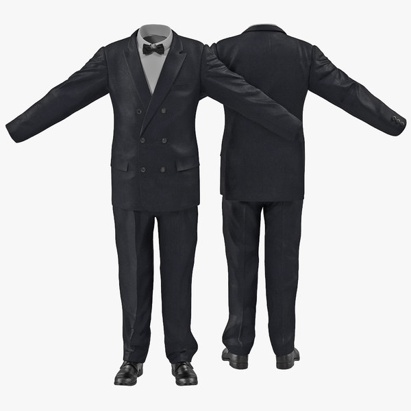 3d model of men suit 8 modeled