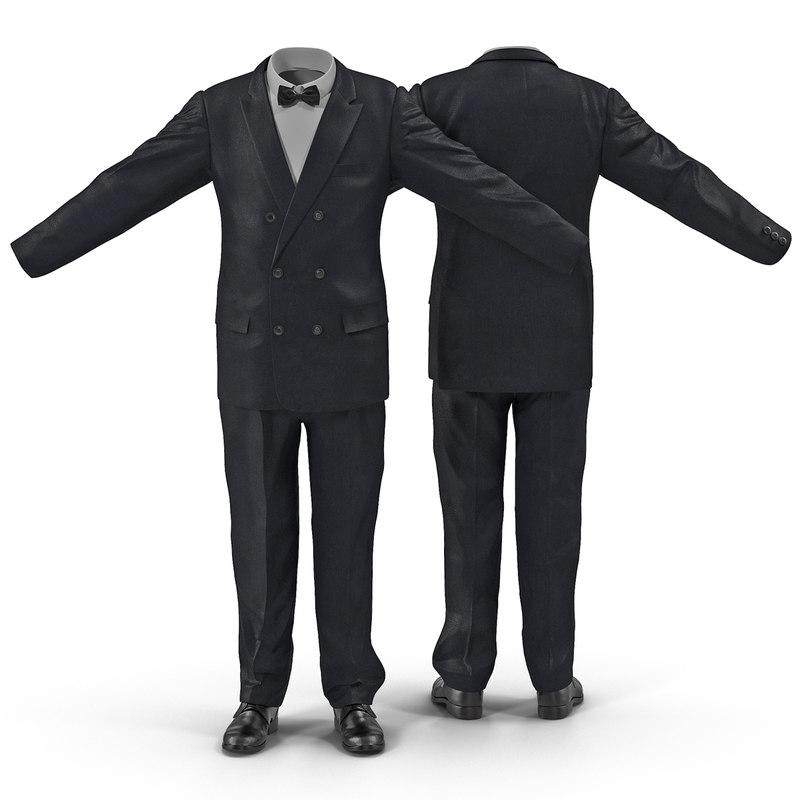 3d model of men suit 8 modeled