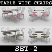 3d model table chairs set-2