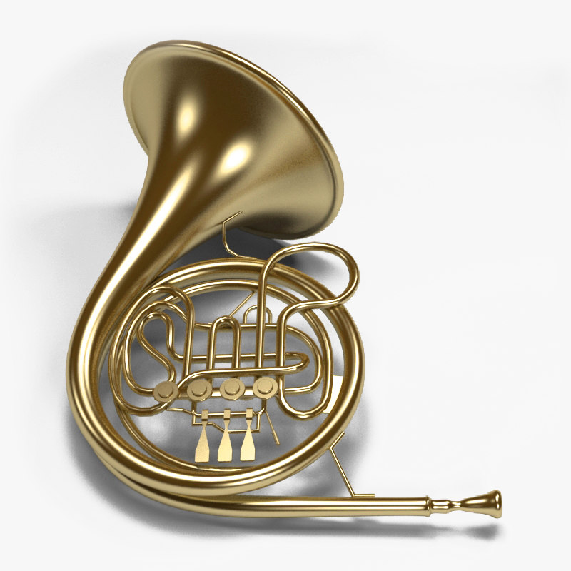 brass french horn 3d max