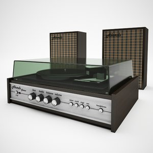 3d model of turntable akords stereo