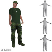 rigged soldier s hat 3d model