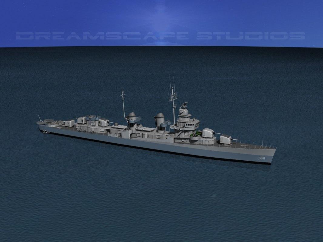 3d anti-aircraft fletcher class destroyers model