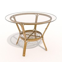 3d rattan table glass