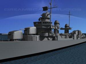 anti-aircraft fletcher class destroyers 3d model