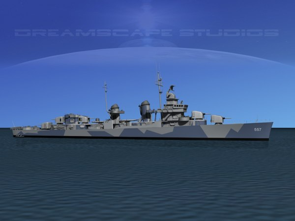 anti-aircraft fletcher class destroyers 3d max