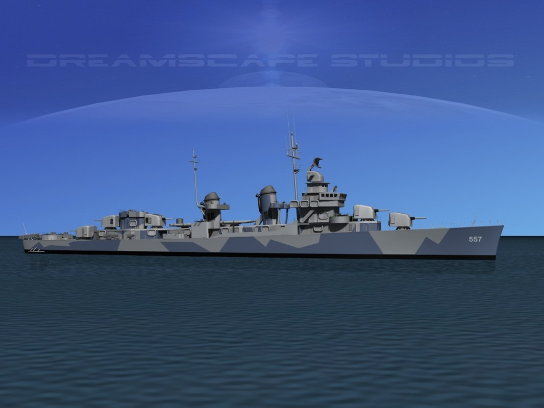 anti-aircraft fletcher class destroyers 3d max