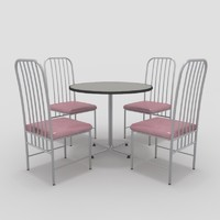 3d model table chairs-6 chairs